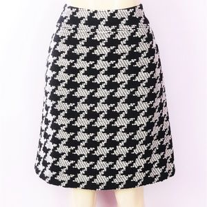 TALBOTS BLACK PRINT ALINE WOOL LINED SKIRT 8